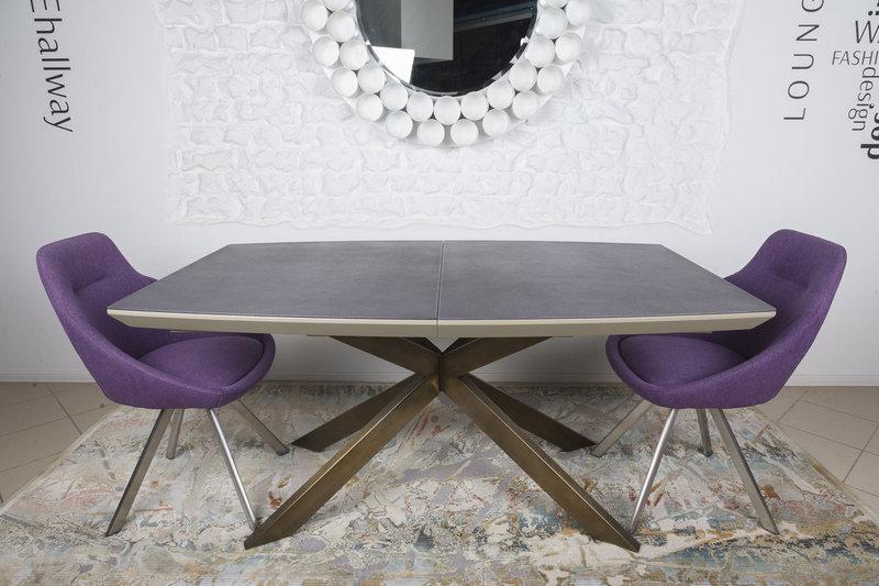 Стол  Nicolas Portland  HT2395 160 мокко/баклажан/олово стеклокерамика