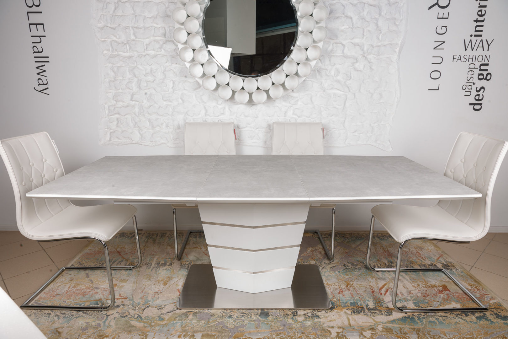 Стол Nicolas Baltimore HT2535 (160/210*90) керамика серо/белый)