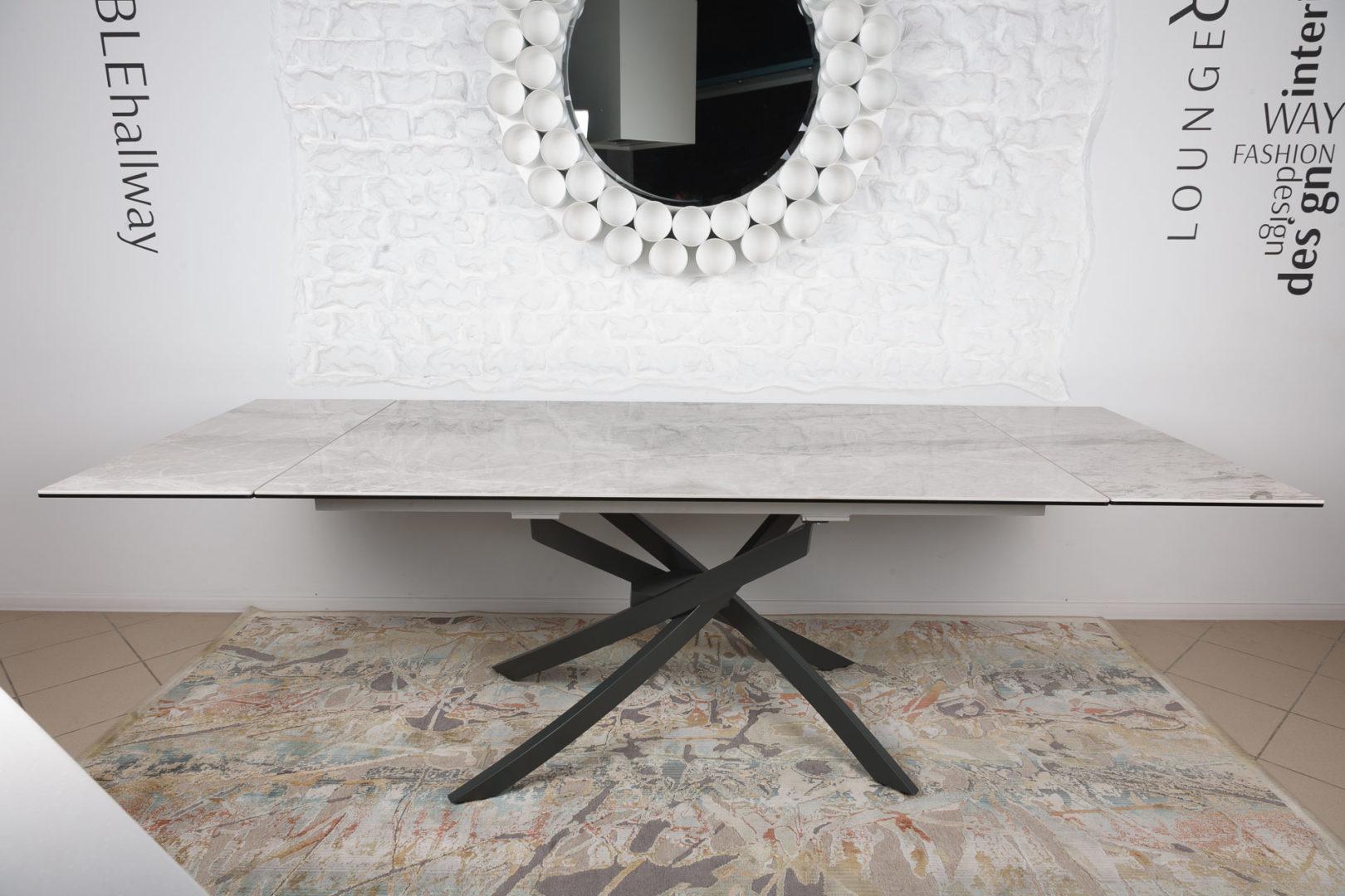 Стол Nicolas Lincoln 4626L (160/240*90) керамика светло-серый глянец