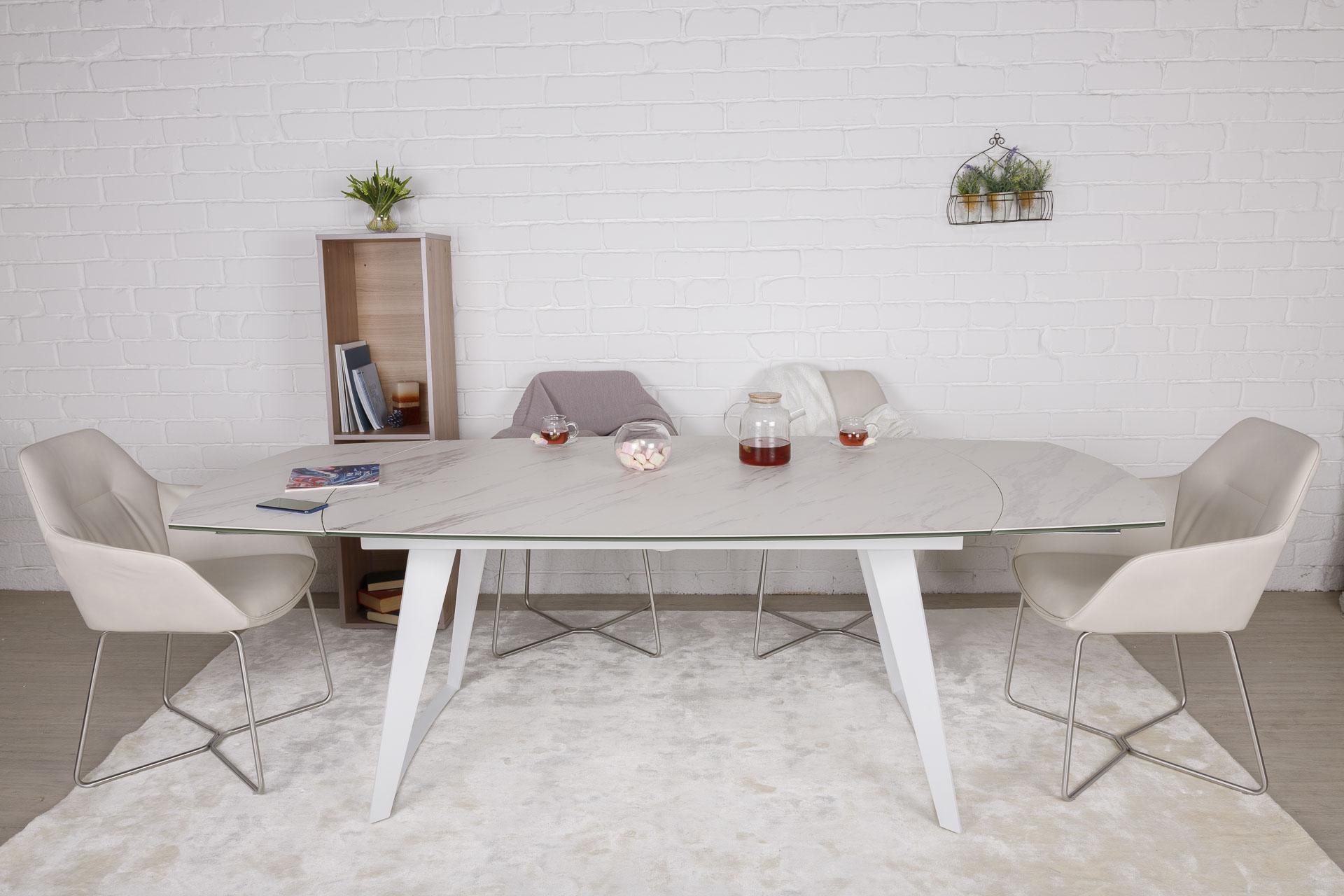 Стол Nicolas Calgary HT93005 (160/230*90) керамика белый