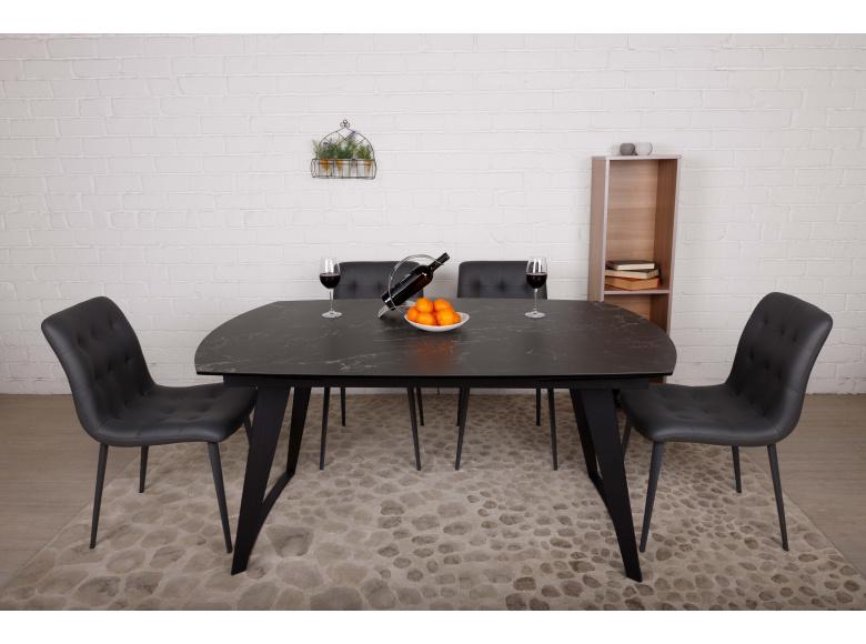 Стол Nicolas Calgary HT93005 (160/230*90) керамика черный мрамор