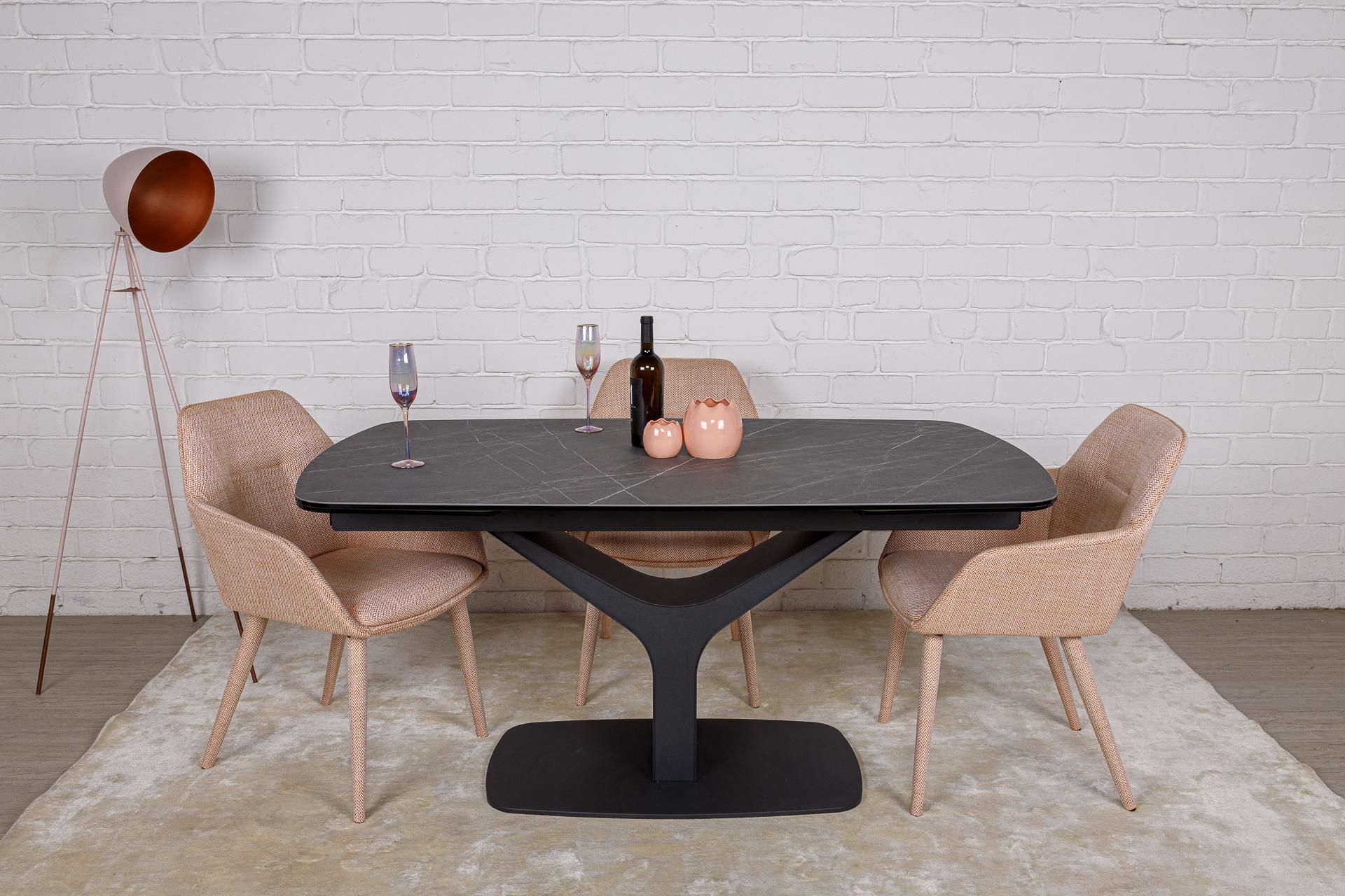 Стол Nicolas Vulcan oval HT92028 160 керамика серый антрацит