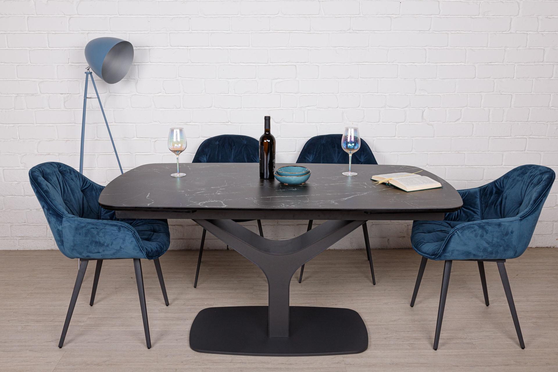 Стол Nicolas Vulcan oval HT92028 160 керамика черный