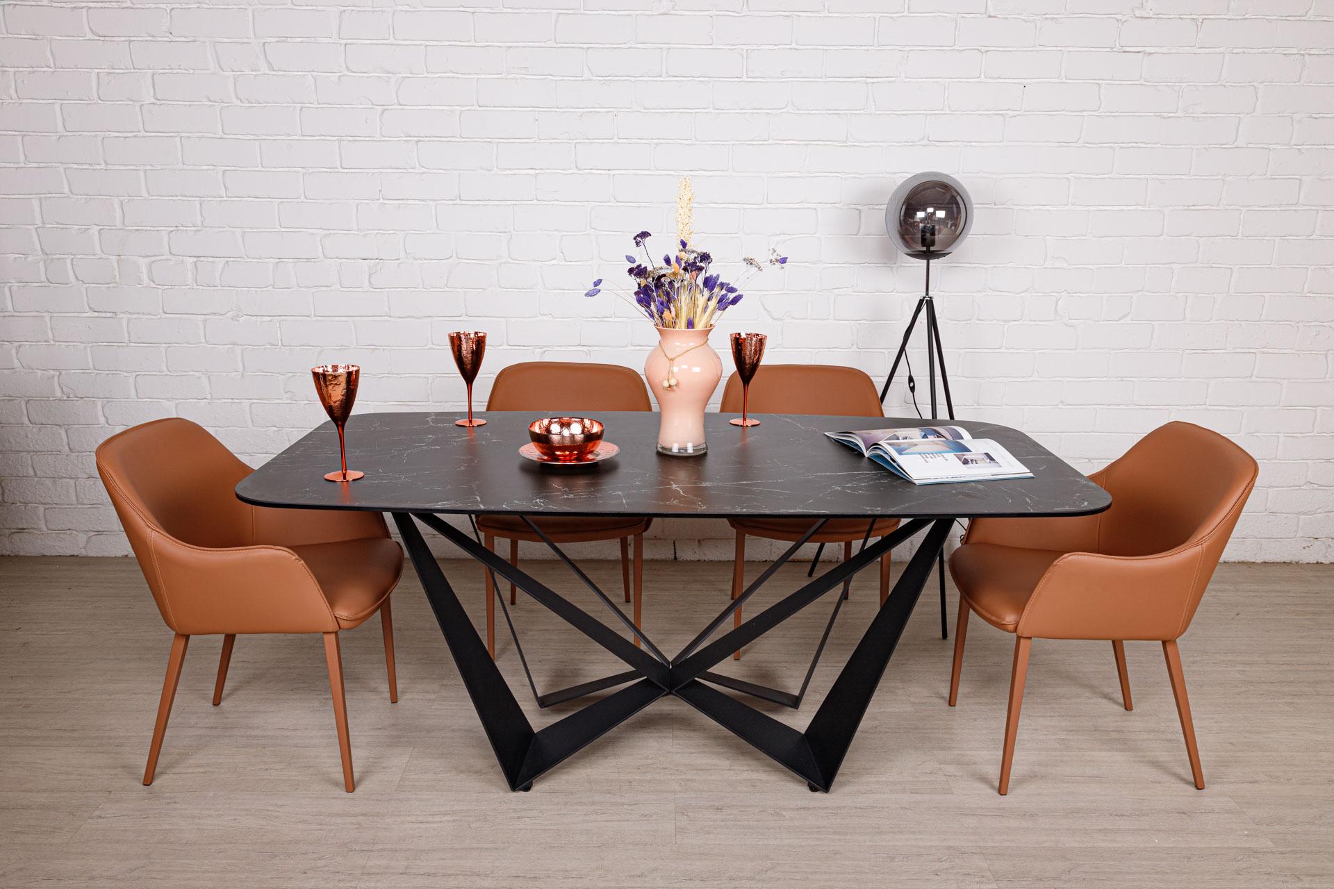 Стол Nicolas Wellington HT92015В (180*90см) керамика черный