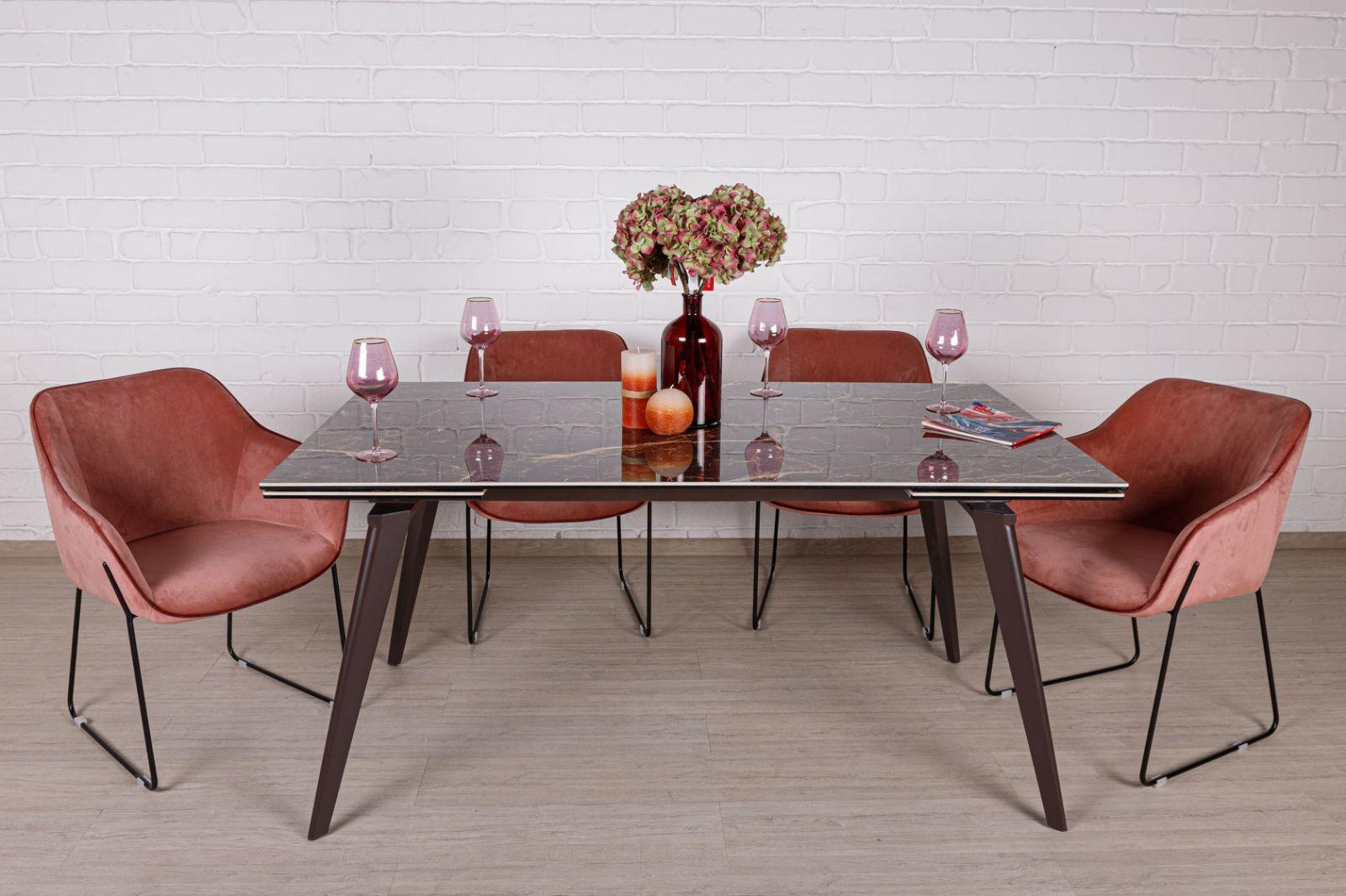 Стол Nicolas Ontario 4718L 160 керамика коричневый глянец